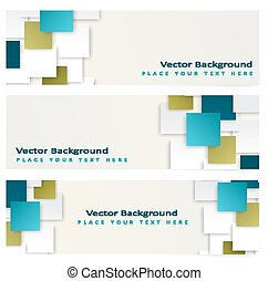 Abstract template horizontal banner with color squares