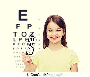 smiling cute little girl holding black eyeglasses -...