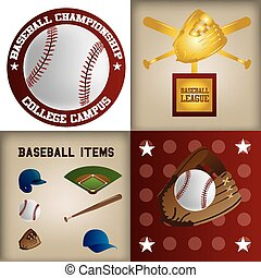 baseball - a set of labels and backgrounds with text and...