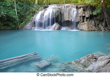 waterfall - Waterfall beautiful (erawan waterfall) in...