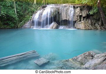 waterfall - Waterfall beautiful (erawan waterfall) in...