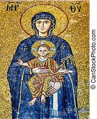 Christ Child mosaic - Virgin Mary holding the Christ Child