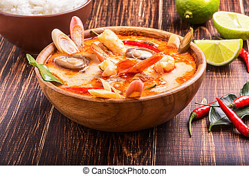 Thai Tom Yam soup with shrimp and shiitake mushrooms, served...