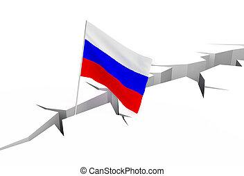 russe, drapeau, terrestre,  crevasse, Chutes