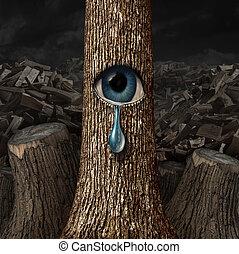 mãe, natureza, chorando,