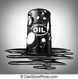 Oil Collapse - Oil collapse industry concept as a barrel...