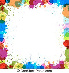 Colorful Splash Frame - Abstract Grunge Colorful Retro Paint...