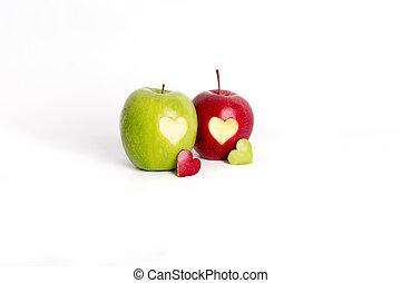 maçã, corações,
