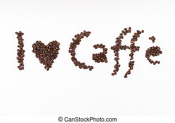 I love caffe title made of coffee beans