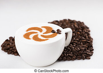 Capuccine with coffee beans - Real capuccino decorated with...