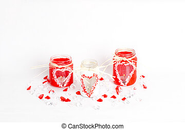 three valentines candlesticks - handmade candlesticks with...