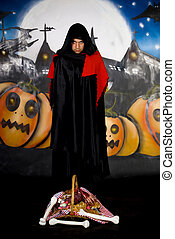 Halloween sorcerer graffiti - Young Halloween sorcerer with...