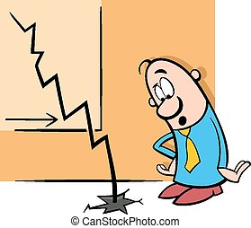 economic crisis cartoon illustration - Concept Cartoon...