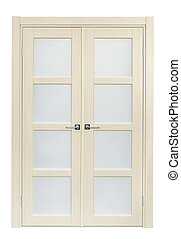 Double door - White oak interior double door isolated on...