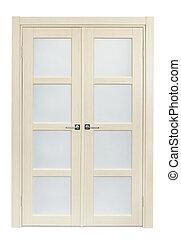 Double door - White oak interior double door isolated on...
