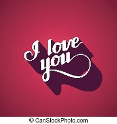 vector typographic illustration of handwritten I love you...
