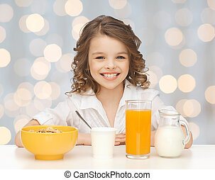 happy girl eating healthy breakfast - healthy food, eating,...