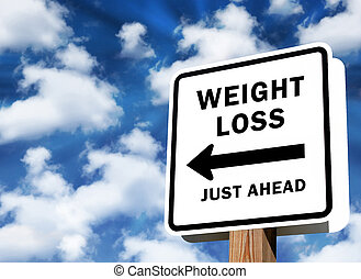 Weight Loss just ahead sign as business concept on a sky...