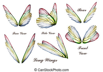 Wings - Set of colored Butterfly or faeries wings, isolated...