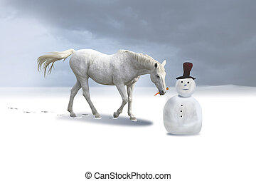 The snowman and the horse in a winter landscape