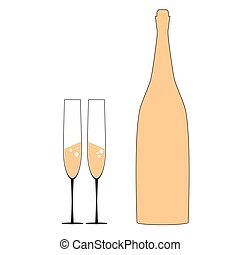 bottle and two glass vector illustration