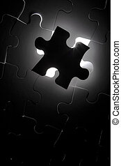Black Puzzle one piece missing - Puzzle one piece missing