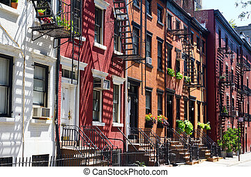 New York City - Gay Street in Manhattan - Buildings on Gay...