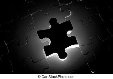 Black Puzzle one piece missing - Back Lighted Black Puzzle...