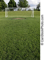 Goal Crease - A view of a net on a vacant soccer pitch.