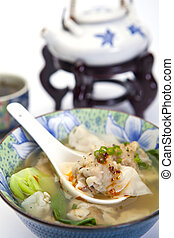 Chinese Won Ton Soup With Bok Choi