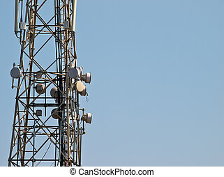 Comms Tower - Telecommunications tower with various signal...