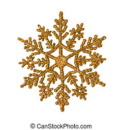 Gold glitter snowflake - One gold glitter snowflake isolated...