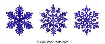 Dark blue glitter snowflakes - Three different dark blue...