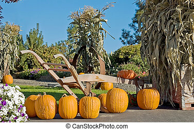 Fall Pumpkin and Plow Still Life - This autumn still life is...