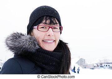 Winter portrait of middle-aged woman - Candid portrait of...