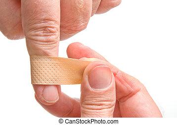 Adhesive Bandage - bandaged finger