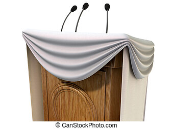 Press Conference Podium With Draping - A wooden speech...