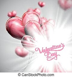 vector holiday illustration of St. Valentines Day label on...