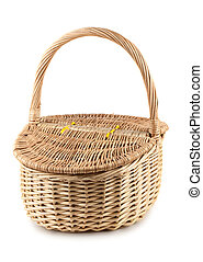 Picnic wicker basket with lid