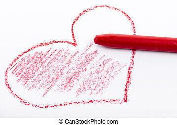 Pencil drawn heart with red color - Closeup of a red pencil...