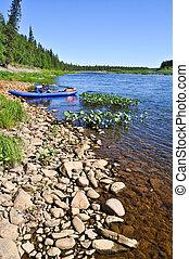 Kayaks on the coast.