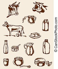 Vintage dairy products and cow - Set of vintage vector hand...