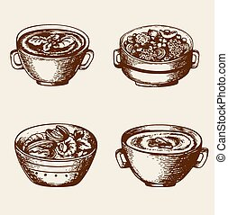 Soup from seafood and vegetables - Vintage hand drawn soup...