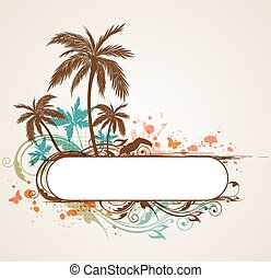 Tropical background with palms