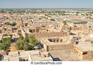 Khiva - Aerial view of old town in Khiva, Uzbekistan with...