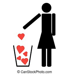 Man throws out a few red hearts in the trash