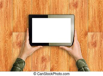 mãos, segurando, digital, tabuleta, computador,