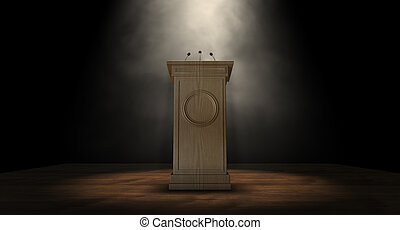 Spotlit Press Podium - A wooden speech podium with three...