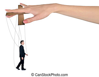 Woman hand control man - Isolated hand control business man