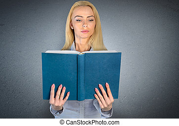 Woman reading - Woman reding from empty cover book